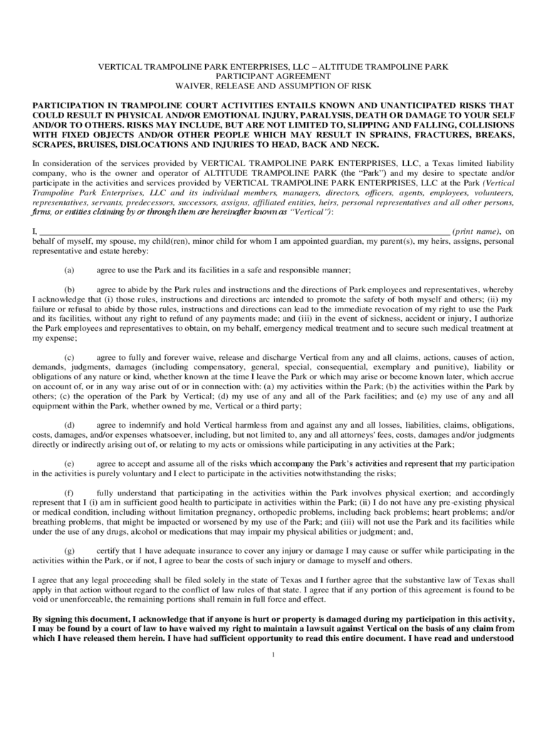 photograph about Free Printable Trampoline Waiver Form titled Trampoline Waiver Style - 2 Cost-free Templates inside PDF, Term