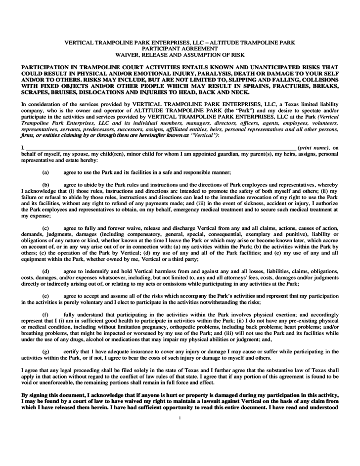 Trampoline waiver template trampoline waiver template trampoline waiver form arkansas l1g altavistaventures Choice Image
