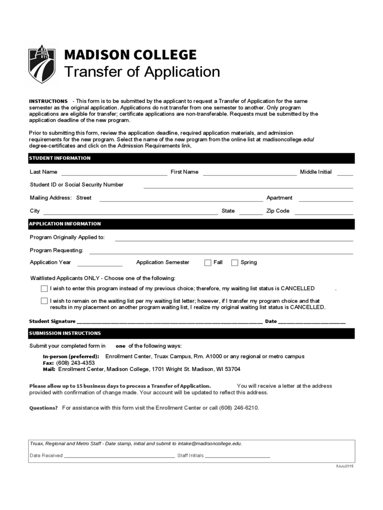 Madison College Transfer of Application