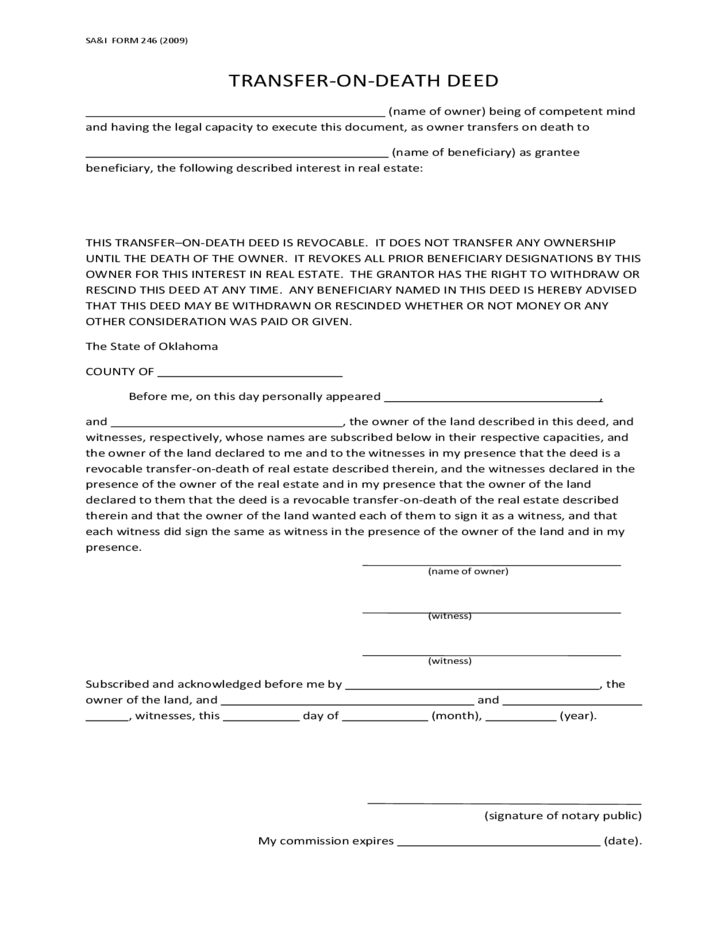 Transfer On Death Deed Oklahoma Free Download
