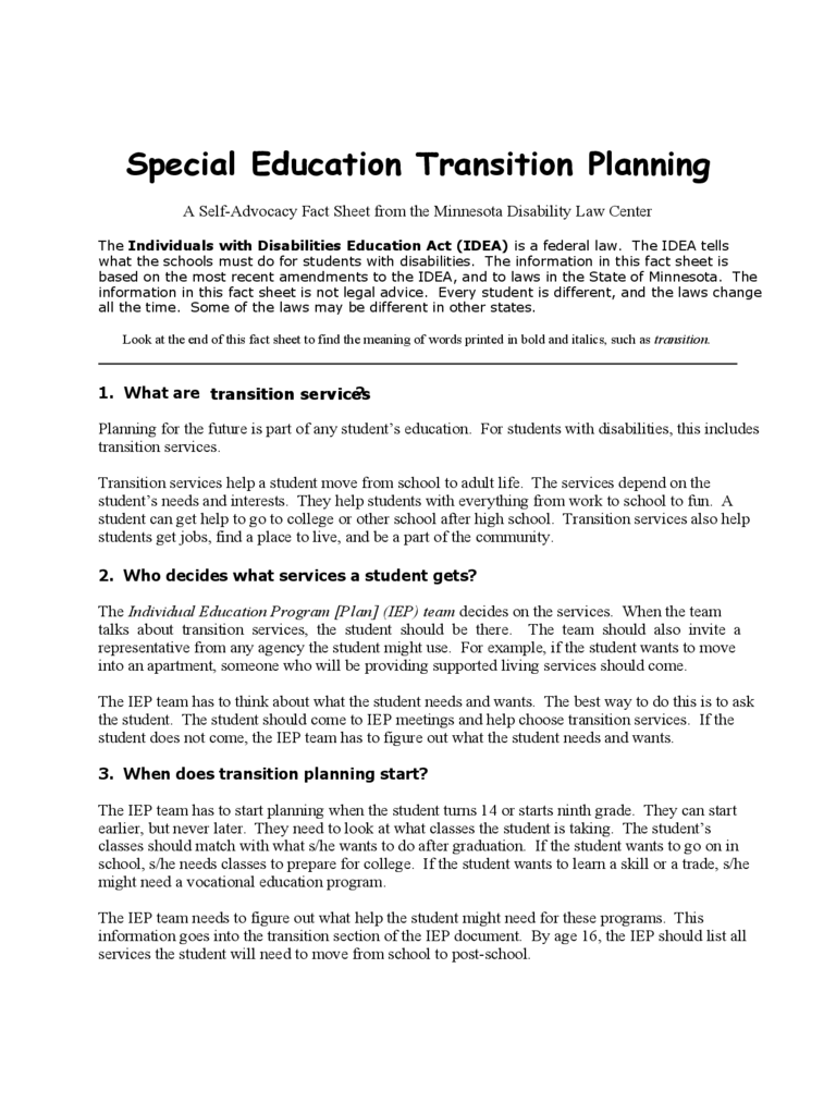Special Education Transition Planning Template