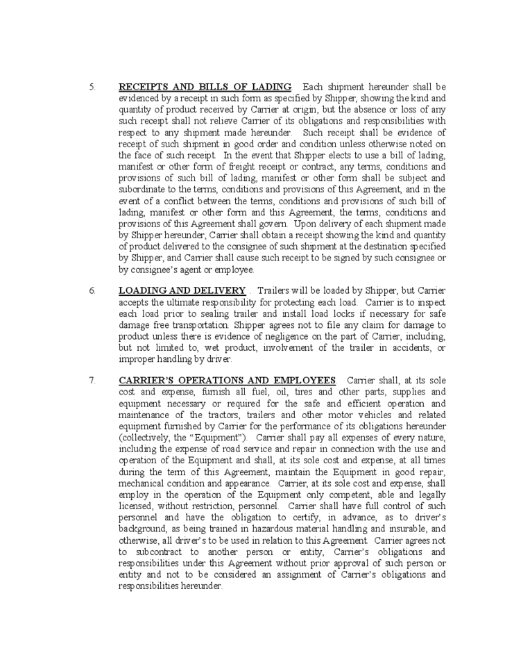 Contract carrier transportation agreement free download for Motor carrier lease agreement