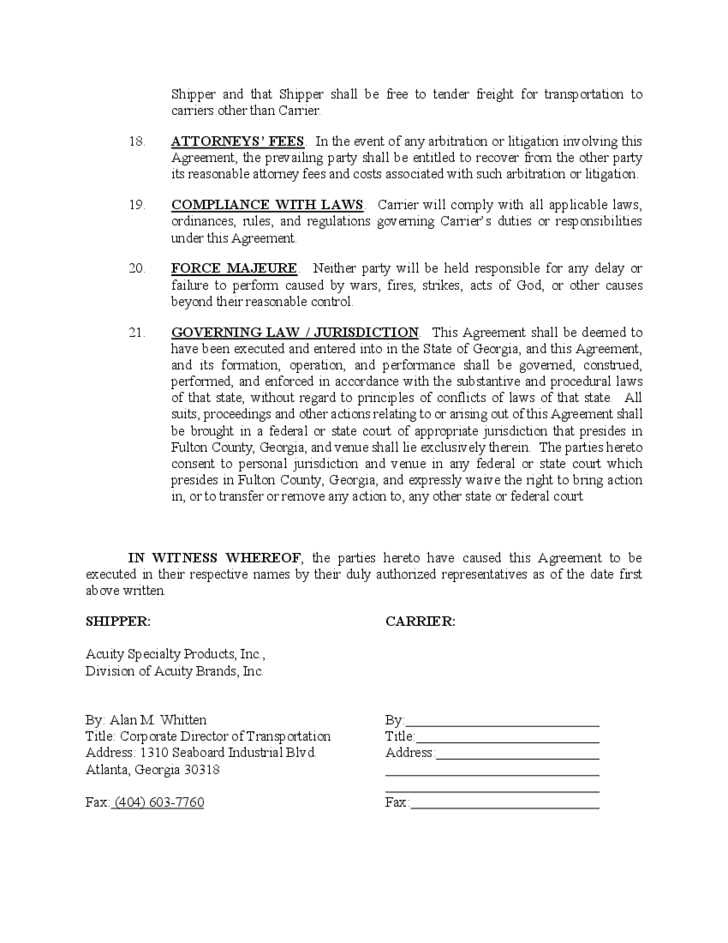 Contract Carrier Transportation Agreement Free Download