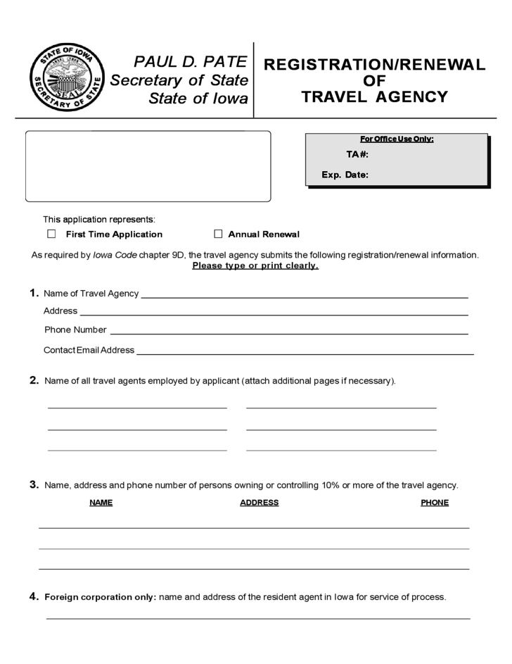 Registration or Renewal of Travel Agency Iowa Free Download