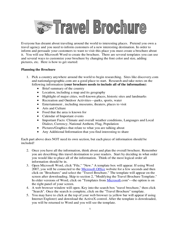 Sample Trip Brochure Free Download