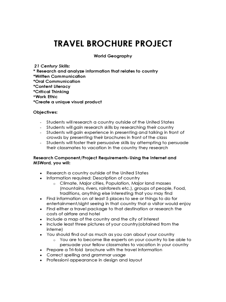 Travel Brochure Project Form