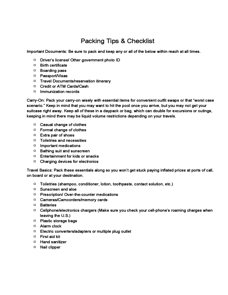 packing tips and checklist for travel free download