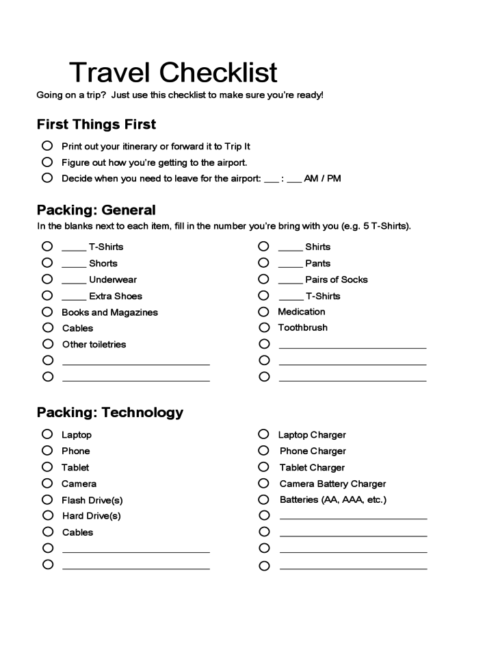 sample template for travel checklist free download