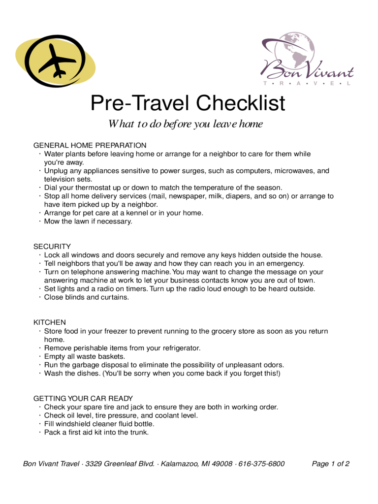 Pre Travel Checklist Sample