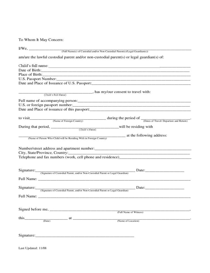 free child travel consent form template thebridgesummitco