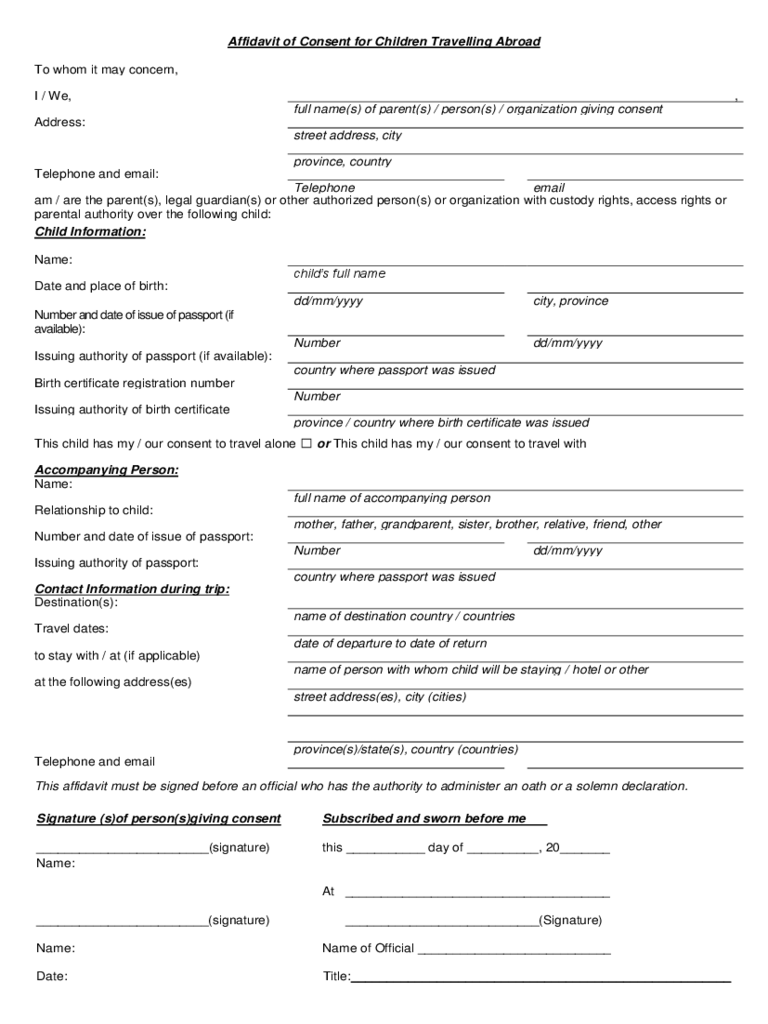 Travel Form 53 Free Templates in PDF Word Excel Download – Travel Consent Form Template