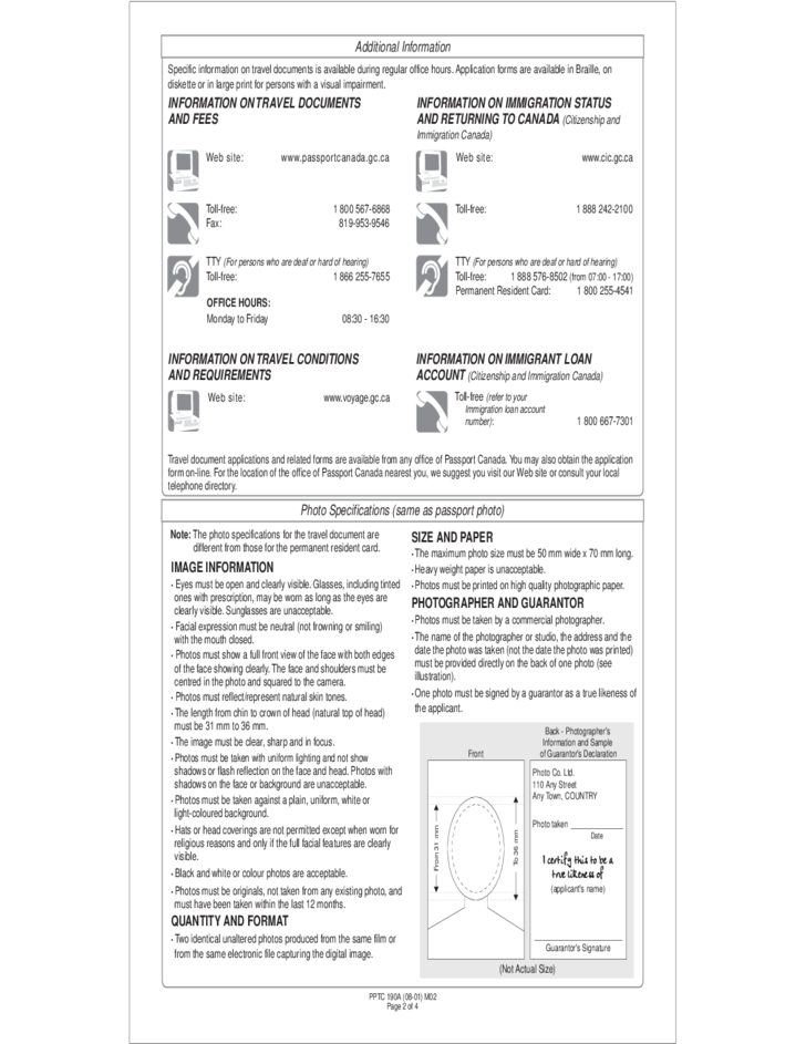Adult Travel Document Application - Canada