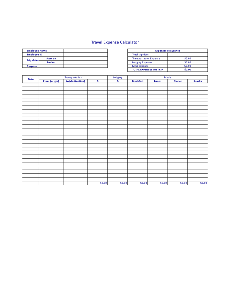 travel expense calculator template 4 free templates in pdf word