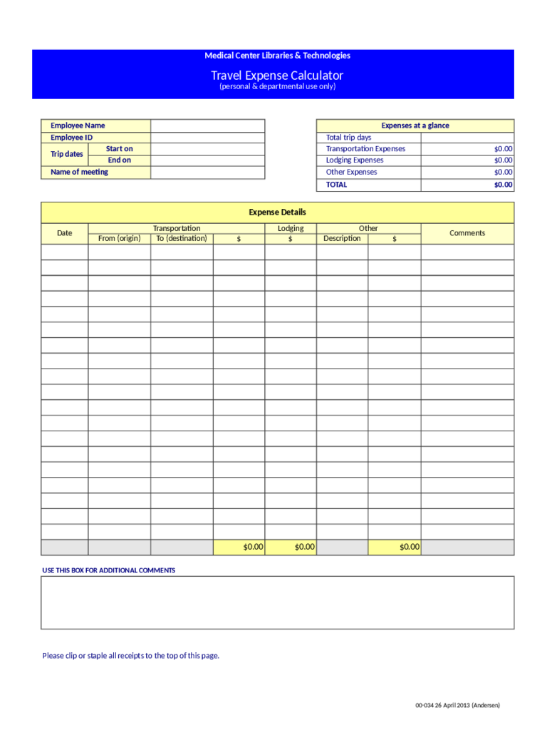 Doc808557 Travel Expense Calculator Template 15 Business – Travel Expense Calculator Template