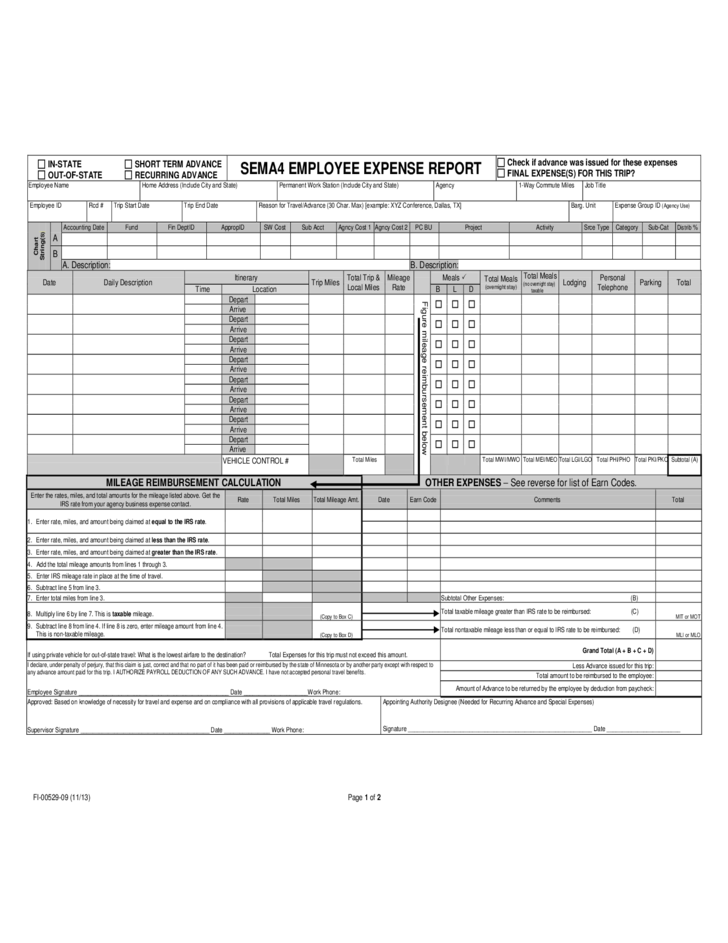 Example Expense Template Employee Expense Report Template Layout – Example Expense Report