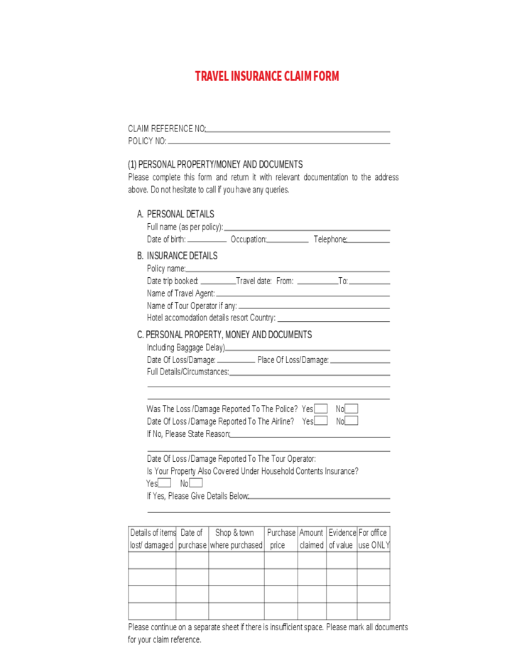 travel insurance claim sample form free download