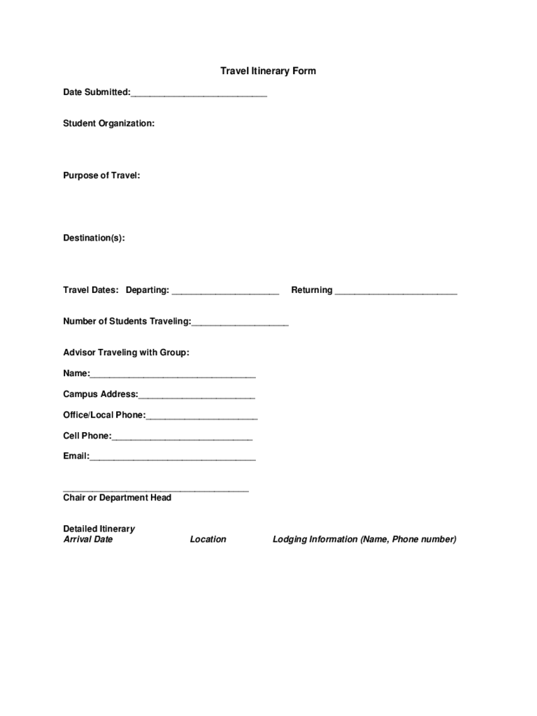 Travel Itinerary Form