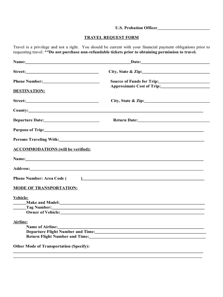 Travel Forms Templates