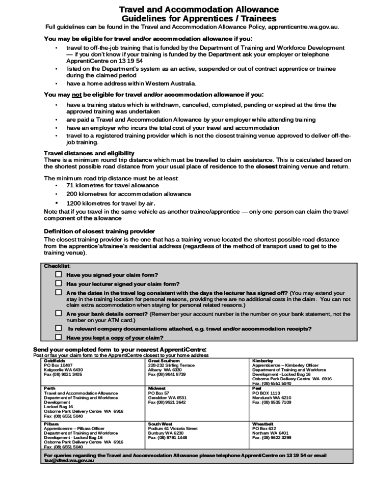 Travel and Accomodation Allowance Claim Form for Apprentices