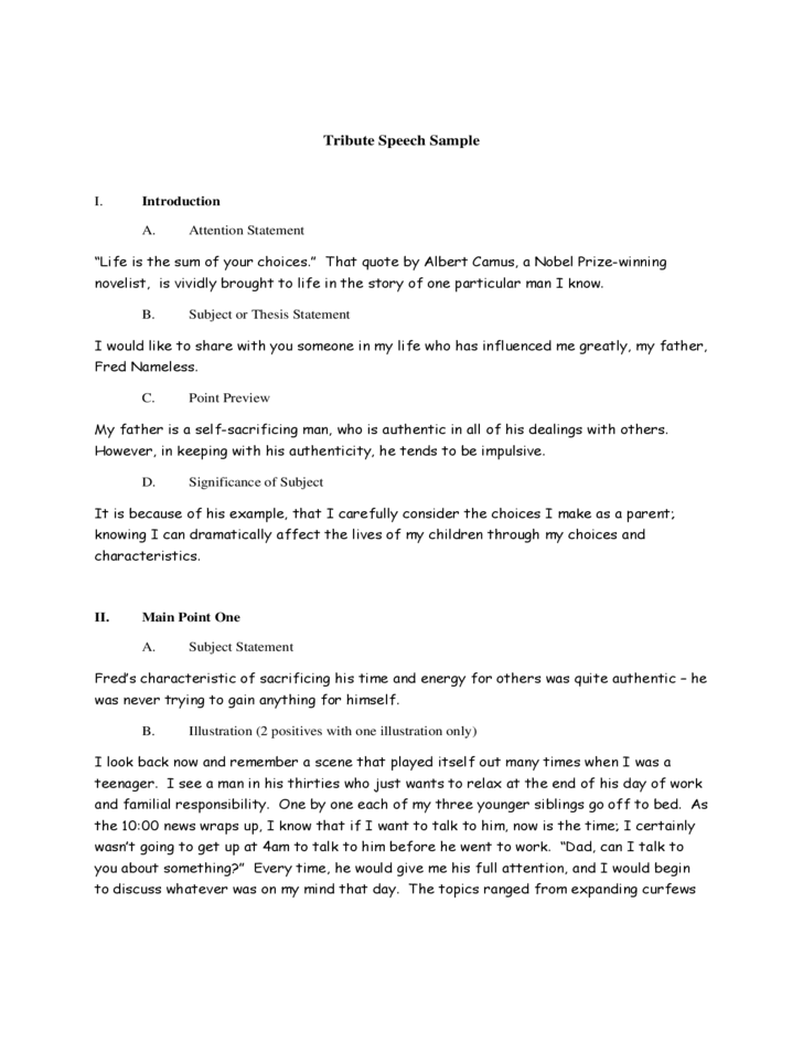 story with a point speech examples