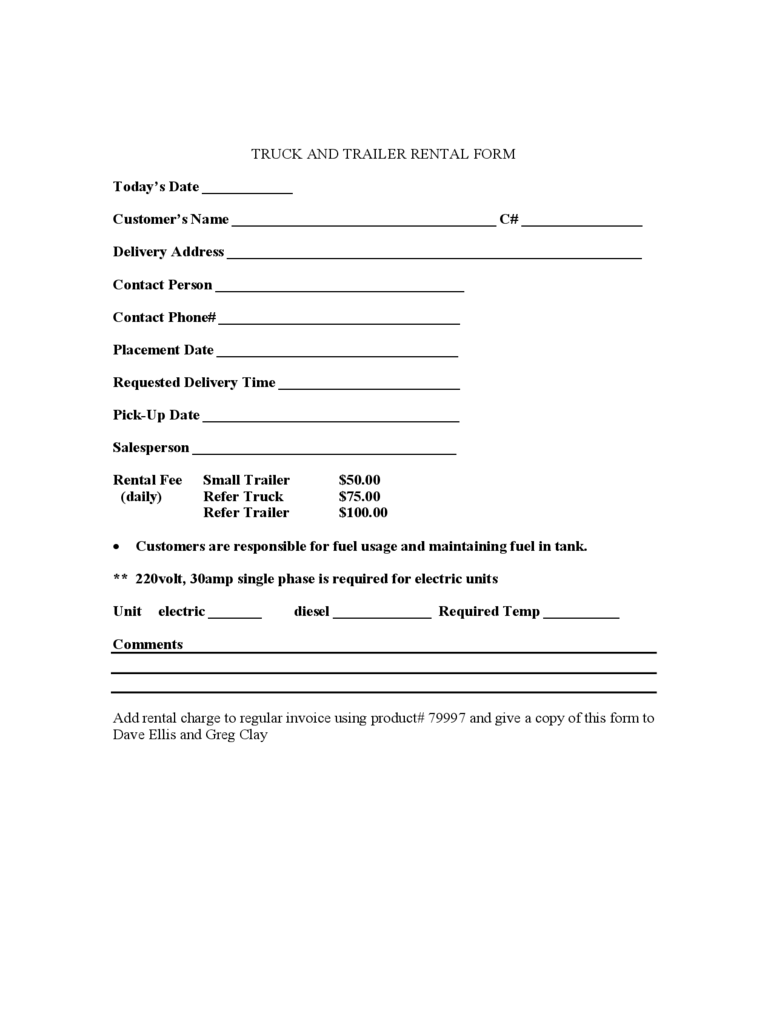 Truck Rental and Lease Template