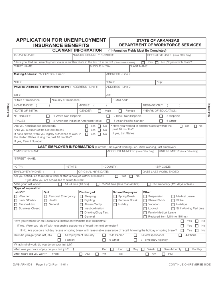 Unemployment Insurance Form - Arkansas