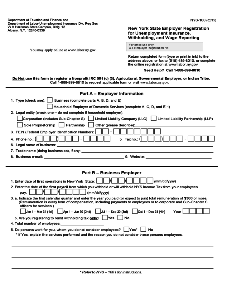 Unemployment Insurance Form - New York Free Download