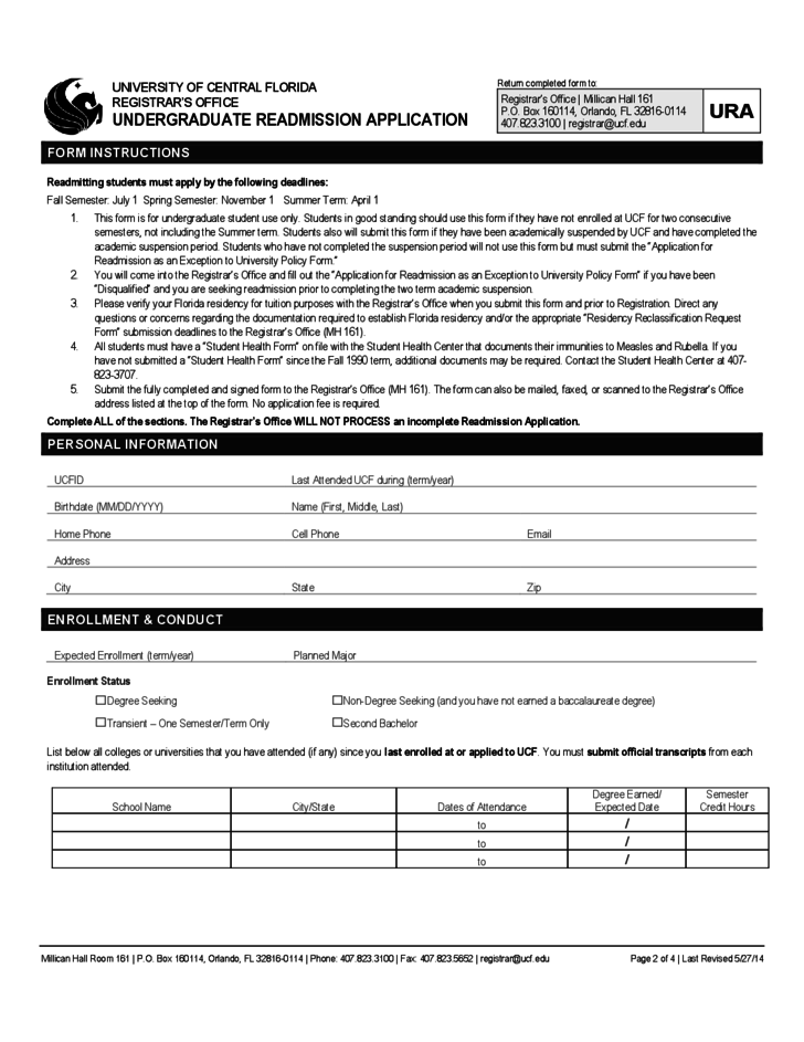 University of Central Florida Application Form for Admission