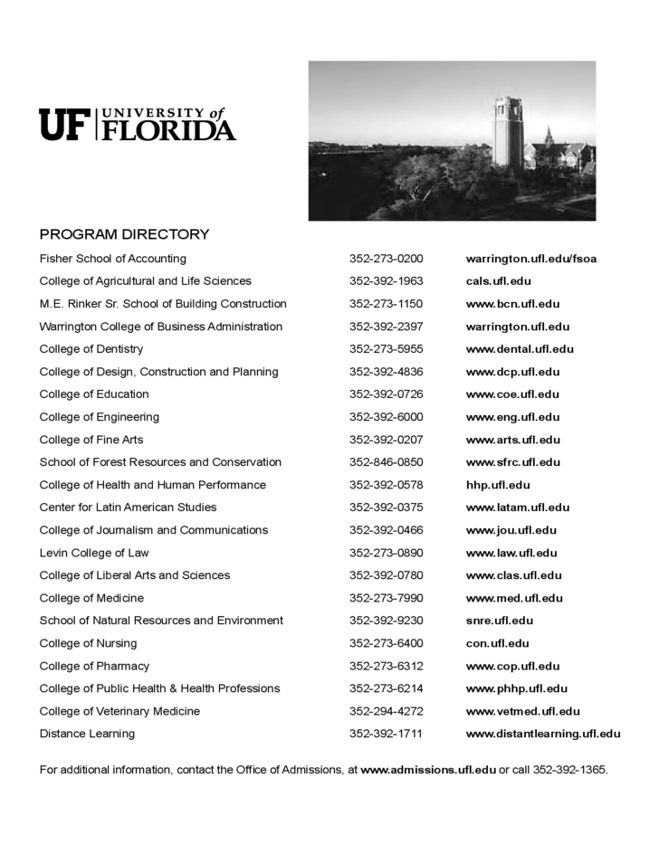 University of Florida Application Form for Admission