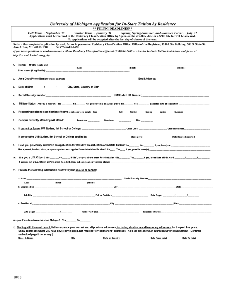 University of Michigan Application Form for In-state Students