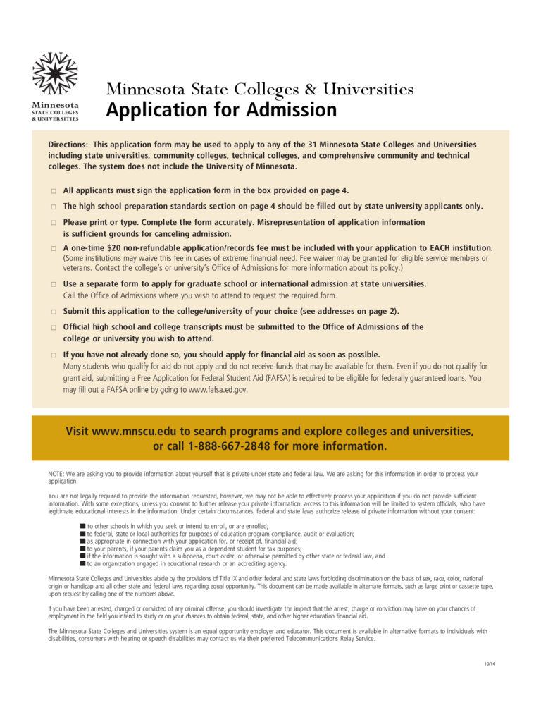 Minnesota State Colleges & Universities Application Form