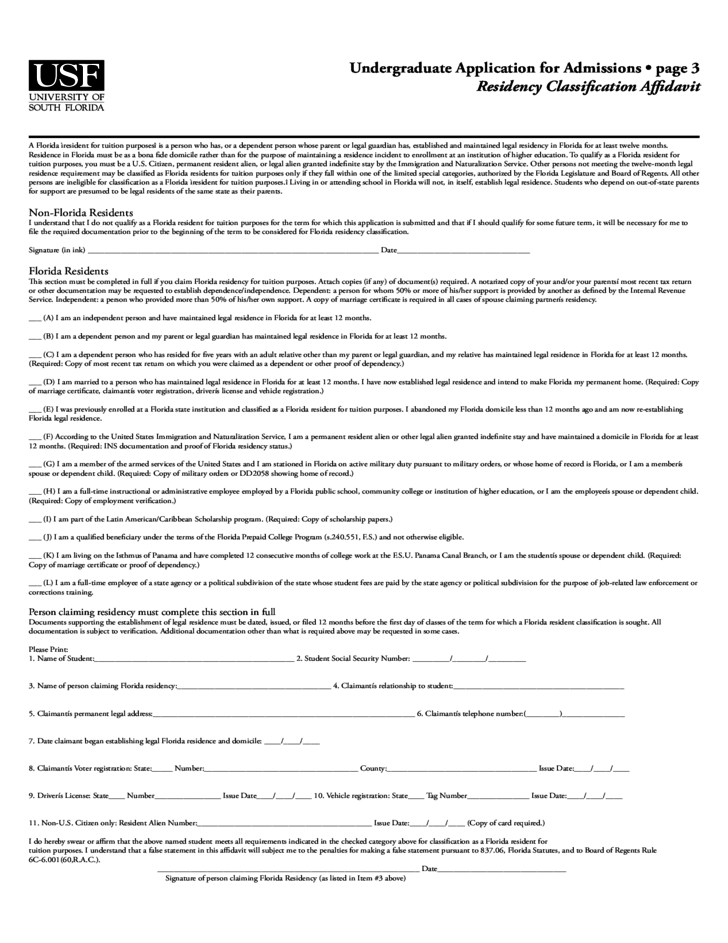 University of South Florida Application Form for Admission Free ...