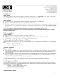 University of South Florida Application Form for Admission Free Download