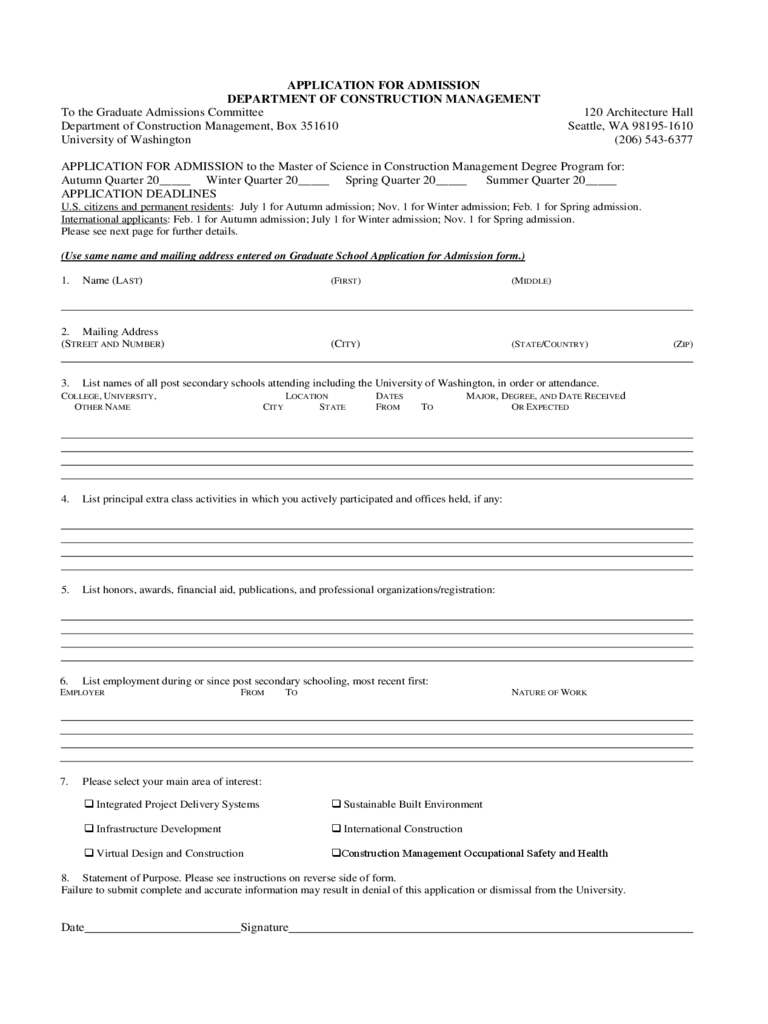 application-for-admission-department-of-construction-management-d1 Wa State University Application Forms on for welwitschia, houston graduate program, alabama state, michigan state,