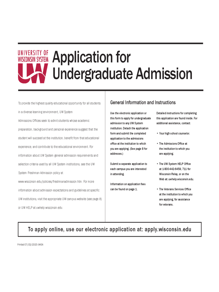University of Wisconsin Application Form - University of Wisconsin Free Download