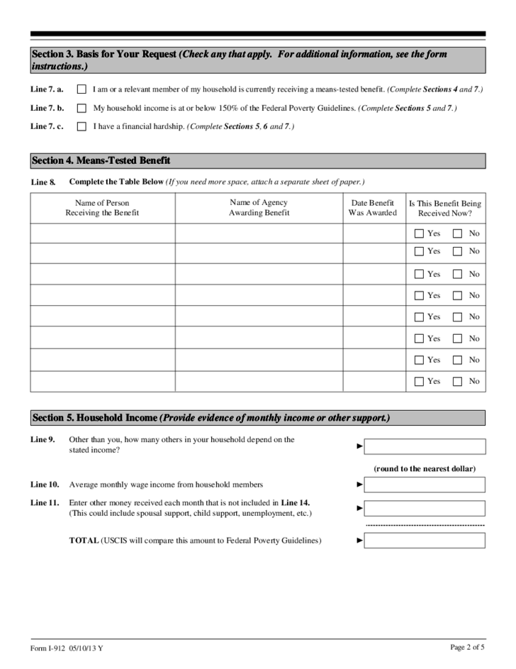 Fee Waiver Form - USCIS Free Download