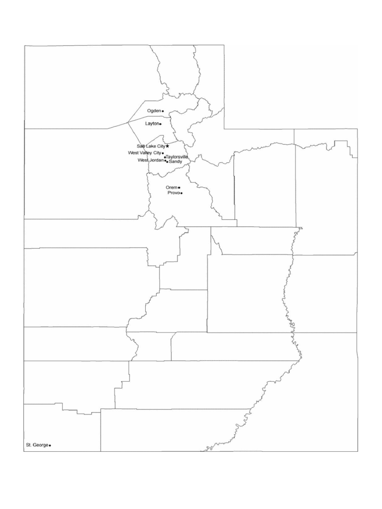 Map of Utah Cities with City Names