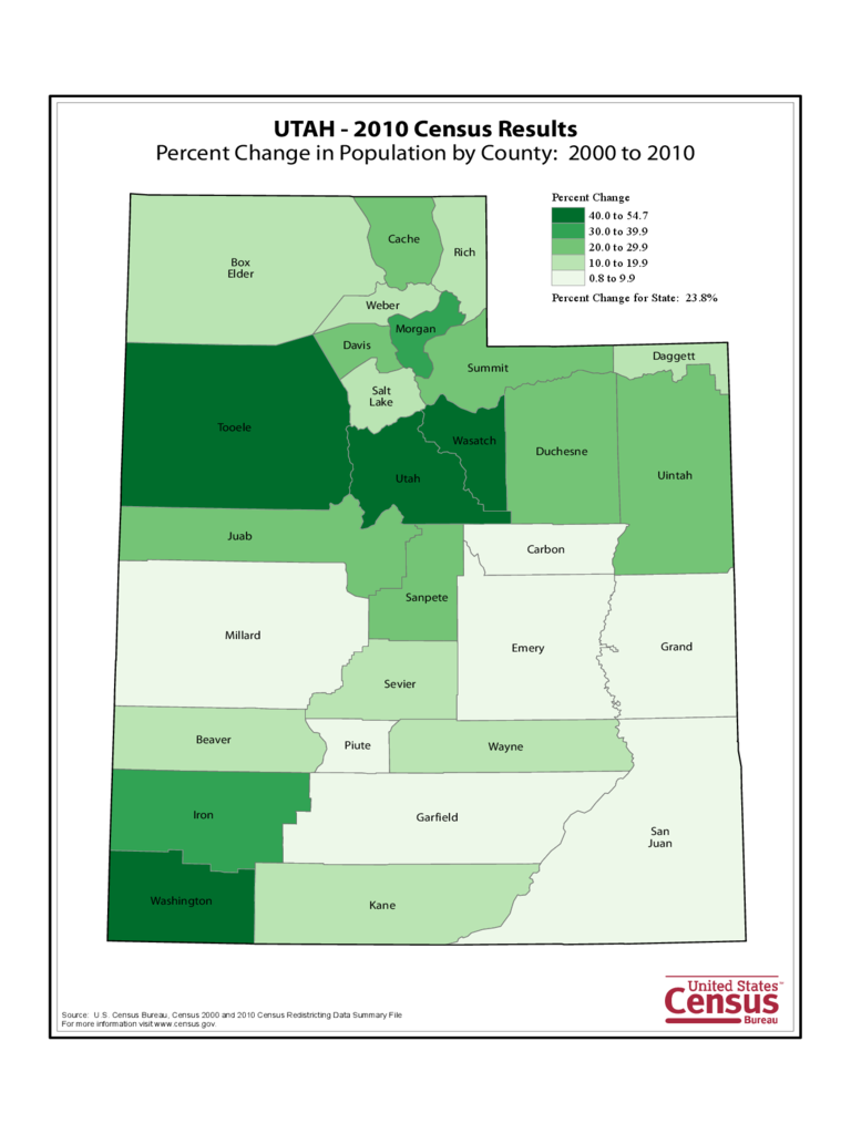 Utah County Population Change Map