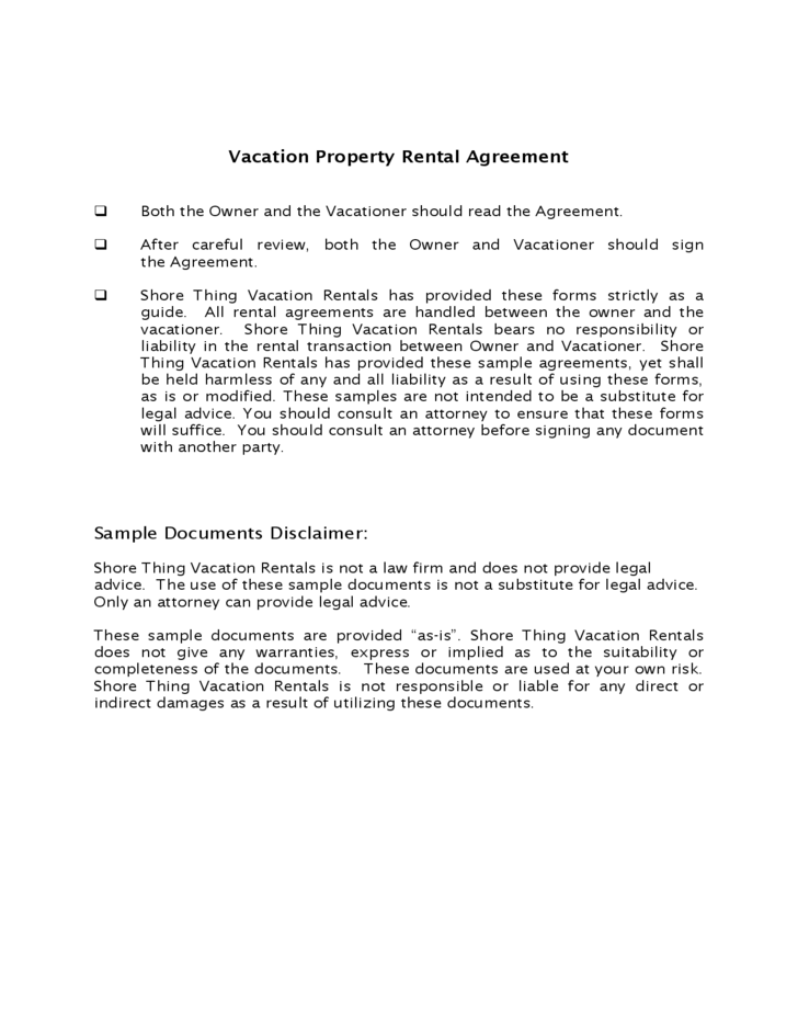 Vacation Property Rental Agreement Free Download