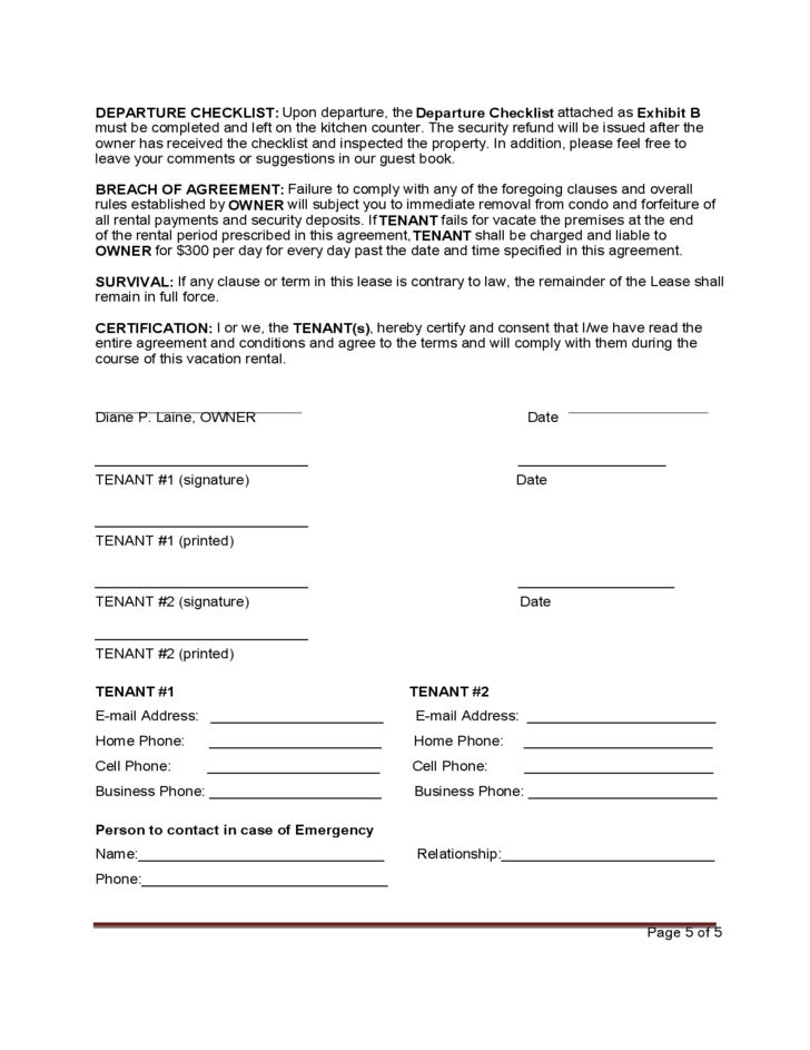 5 Standard Vacation Rental Agreement Template
