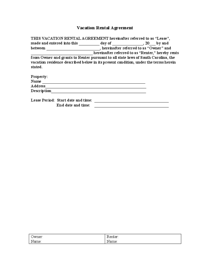 Sample Vacation Rental Agreement Template