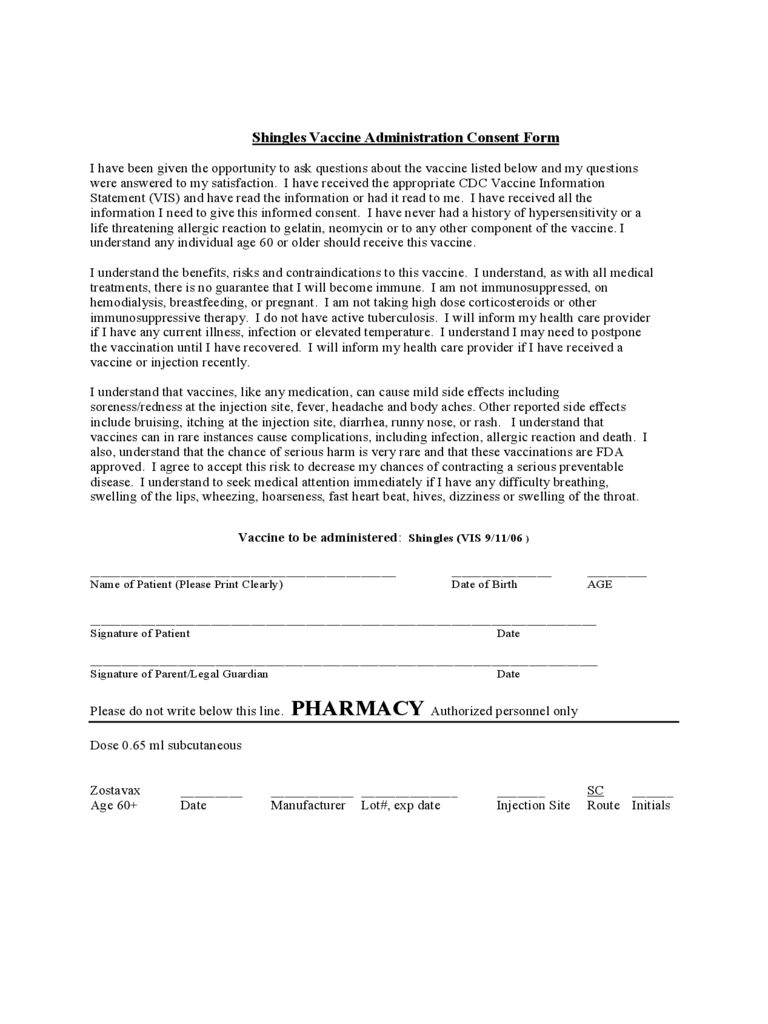 Shingles Vaccine Administration Consent Form