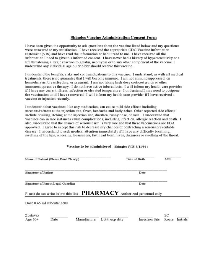 Shingles vaccine administration consent form free download for Vaccination consent form template