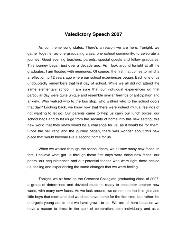 Valedictorian Speech Examples 3 Free Templates in PDF Word – Graduation Speech Example Template