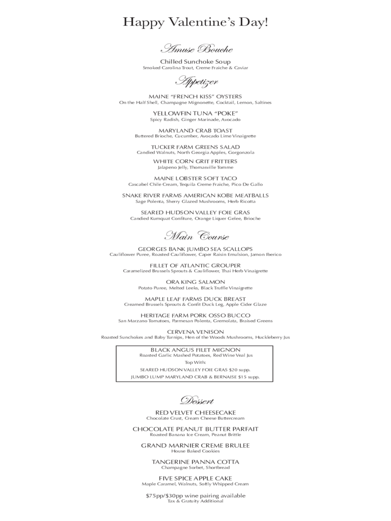 valentine u0026 39 s day menu template