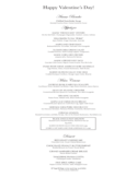 Valentine's Day Restaurant Menu Free Download