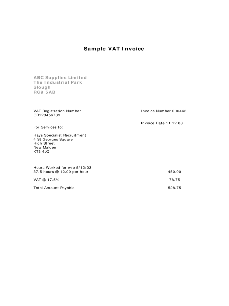 Sample VAT Invoice Template