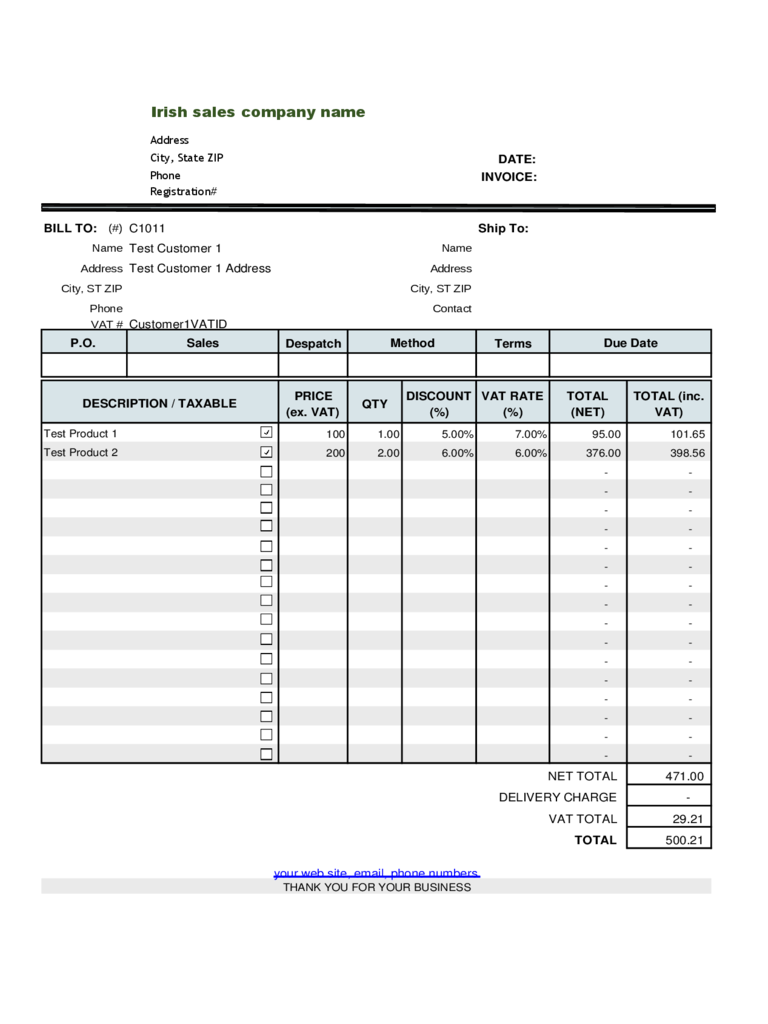 Irish Sales VAT Invoice Template Free Download