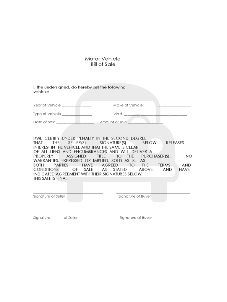 Bill of Sale Form for Vehicle
