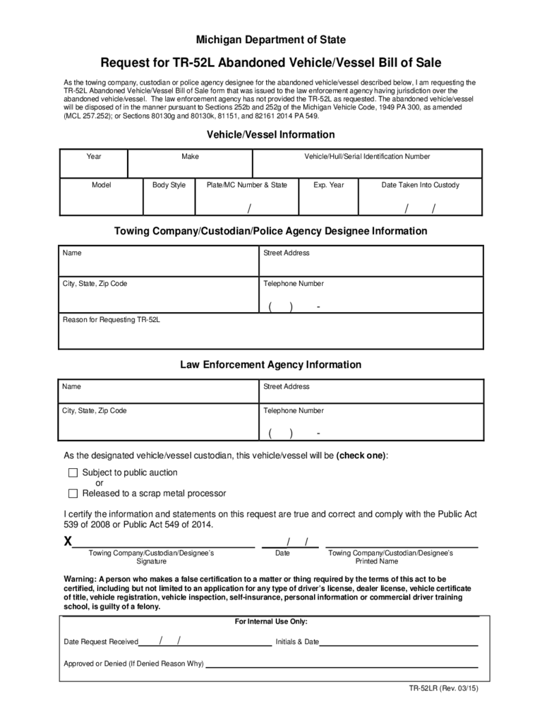 Michigan Bill Of Sale Form Free Templates In Pdf Word